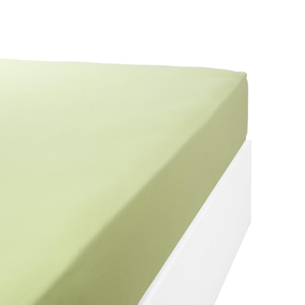 Drap housse jersey extensible en coton vert anis 80x190 cm
