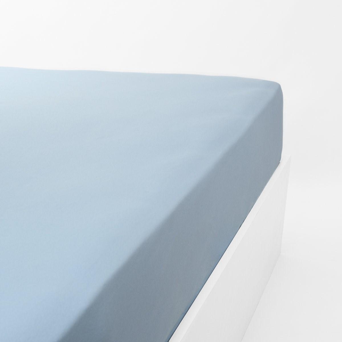 Drap housse jersey extensible en coton bleu clair 90x200 cm