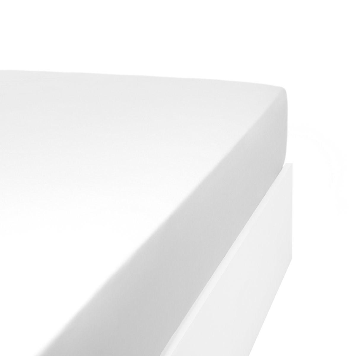 Drap housse jersey extensible lit double en coton blanc 90x200 cm