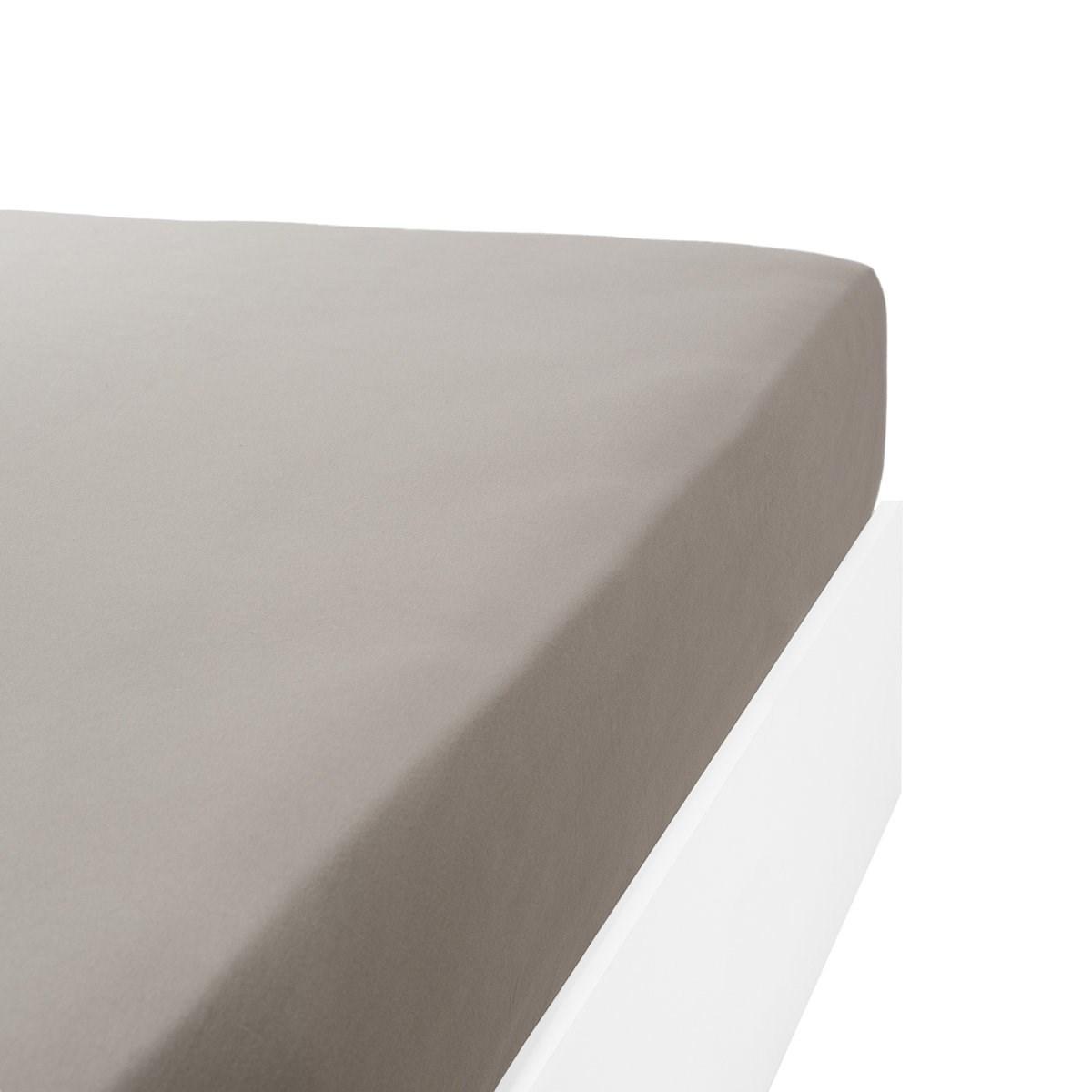Drap housse jersey extensible lit double en coton gris 90x200 cm