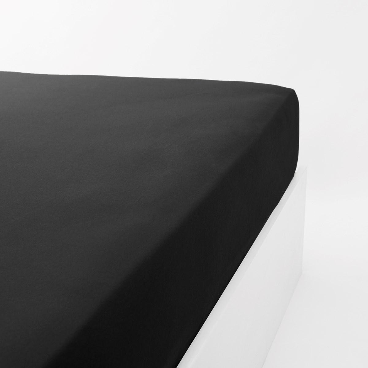 Drap housse jersey extensible en coton noir 180x200 cm