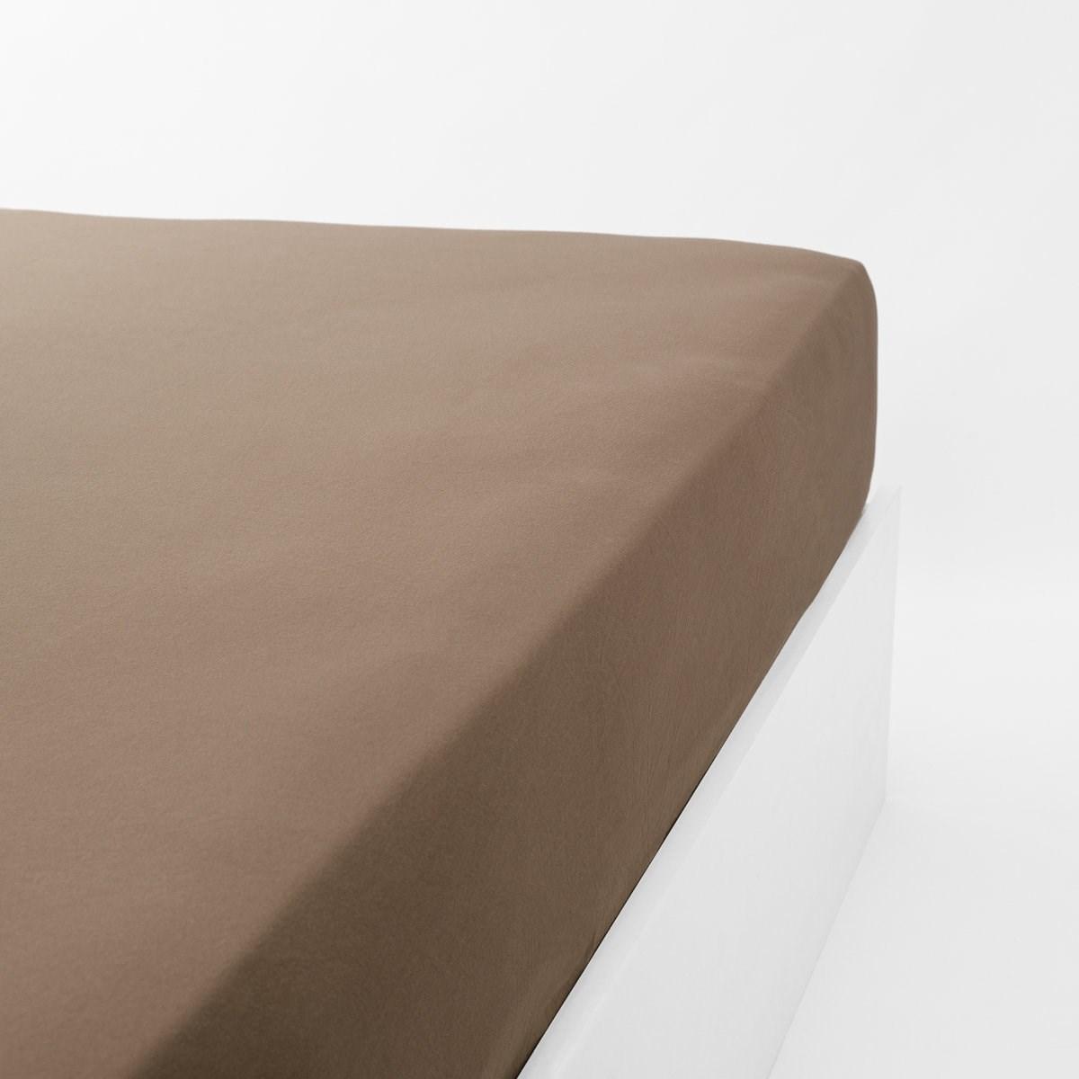 Drap housse jersey extensible en coton marron 160x200 cm
