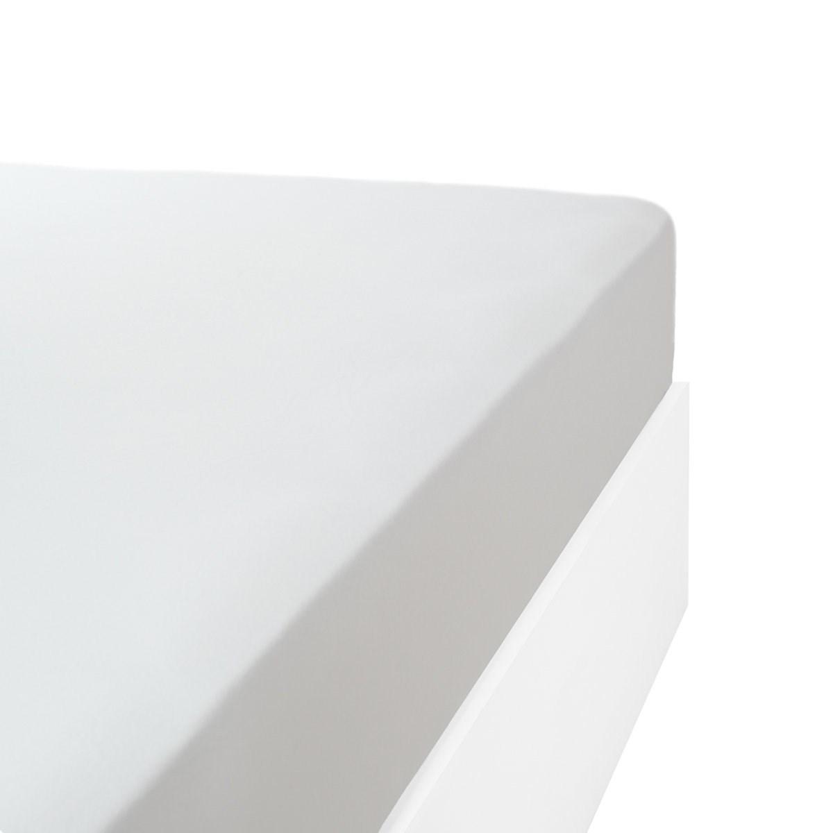Drap housse jersey extensible en coton blanc 90x200 cm