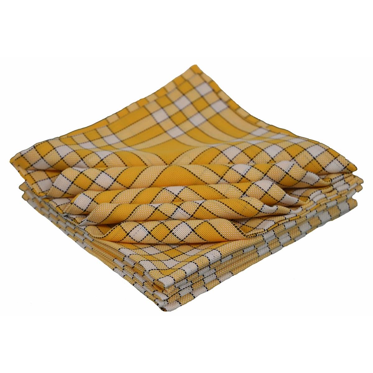 Lot de 10 serviettes de tables carreaux vichy en coton jaune