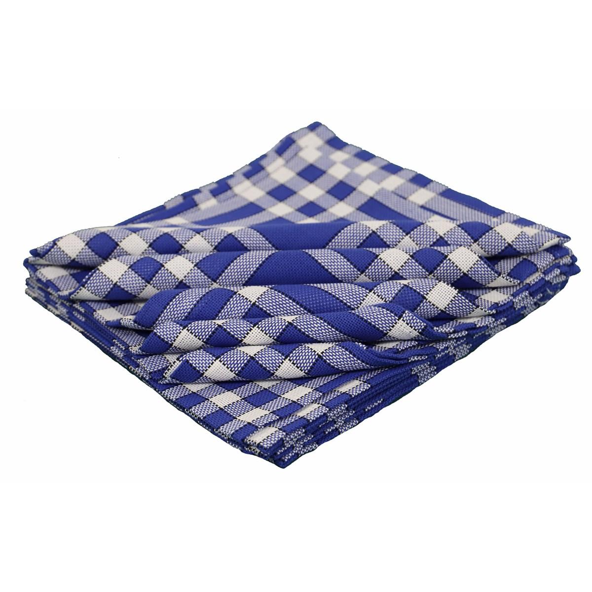 Lot de 10 serviettes de tables carreaux vichy en coton bleu