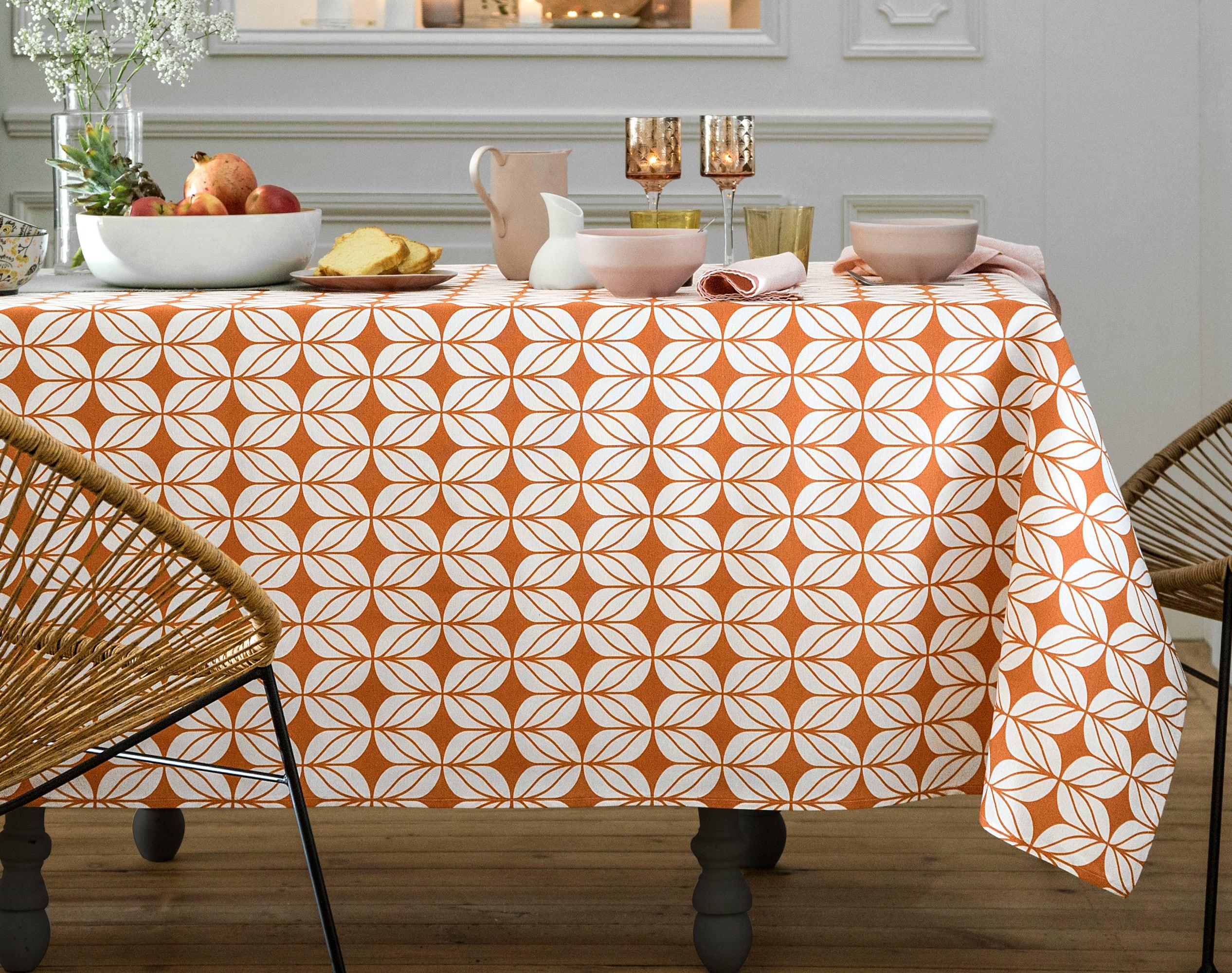 Nappe rectangulaire orange poterie en coton 150x300