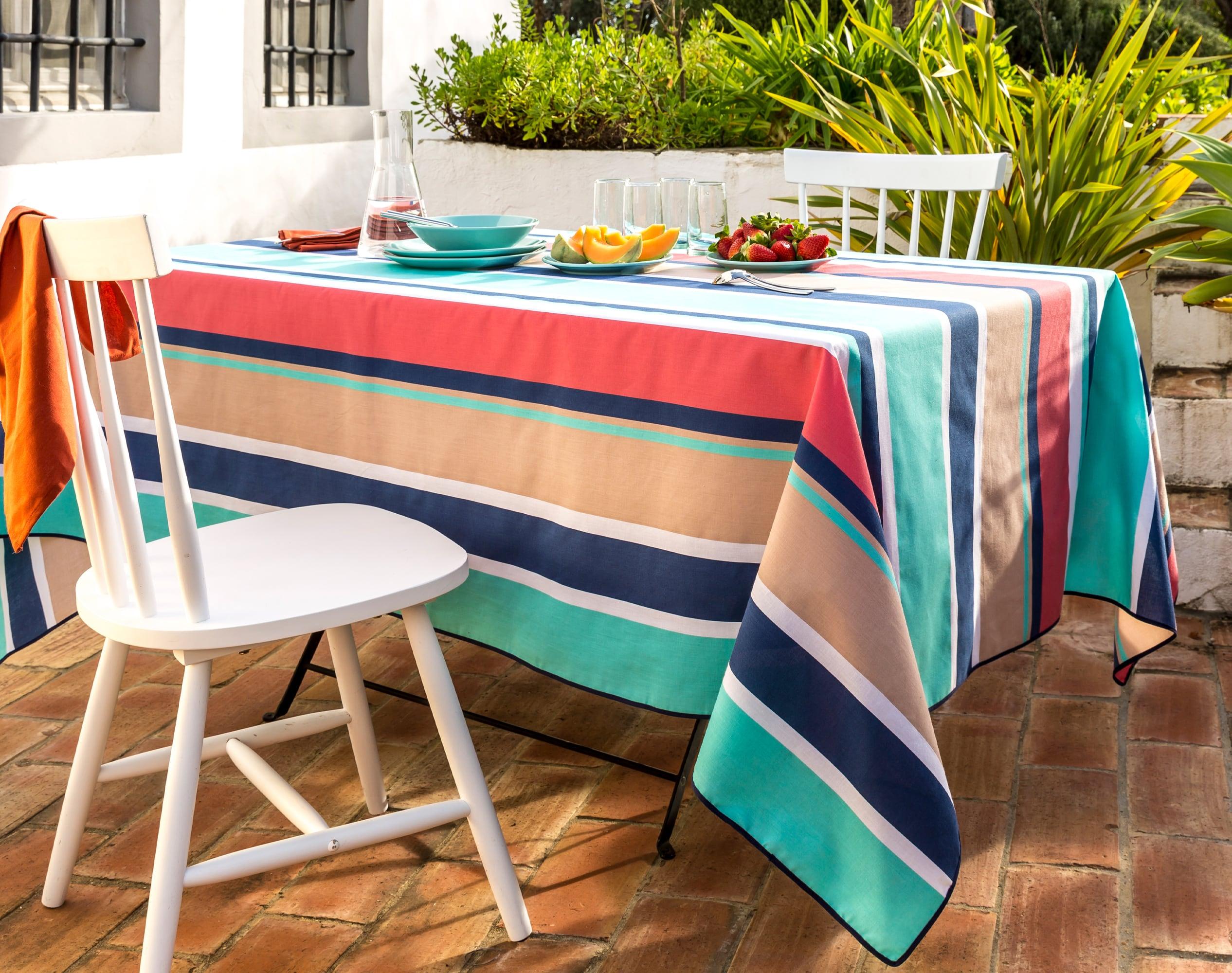 Nappe rectangulaire bleu turquoise en coton 150x300