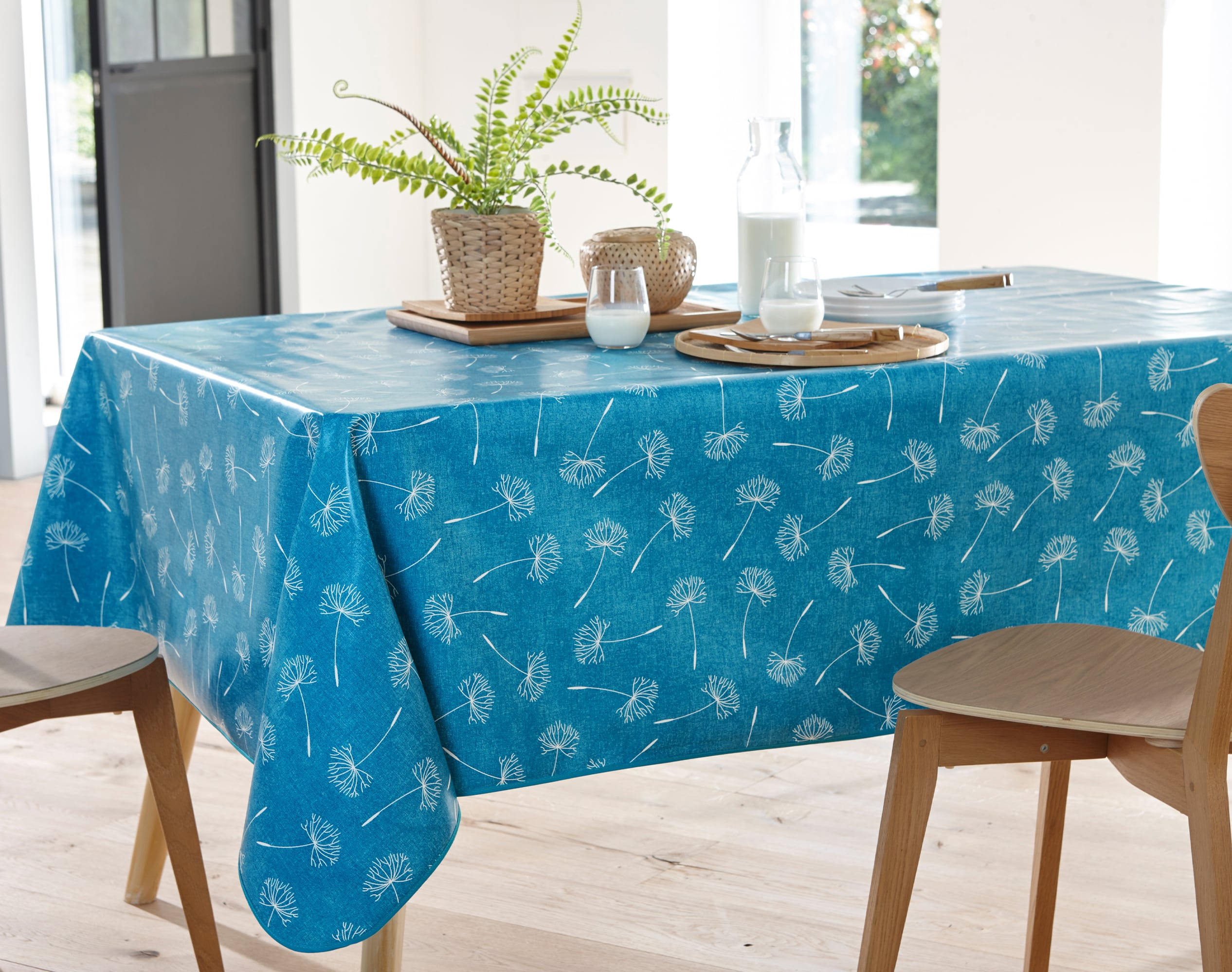 Nappe ronde bleu canard en à motifs 150x150