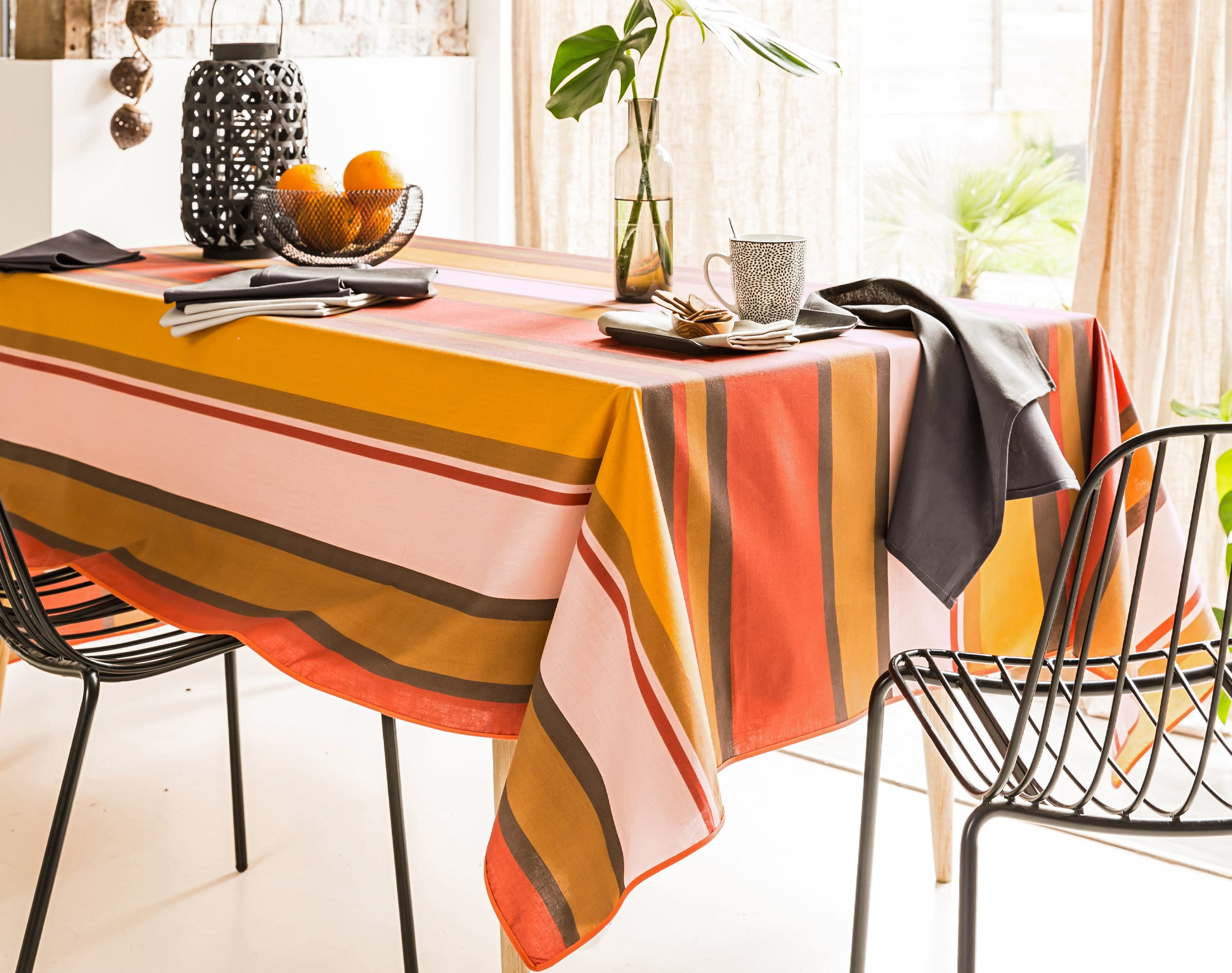 Nappe rectangulaire orange terracotta en coton 150x250