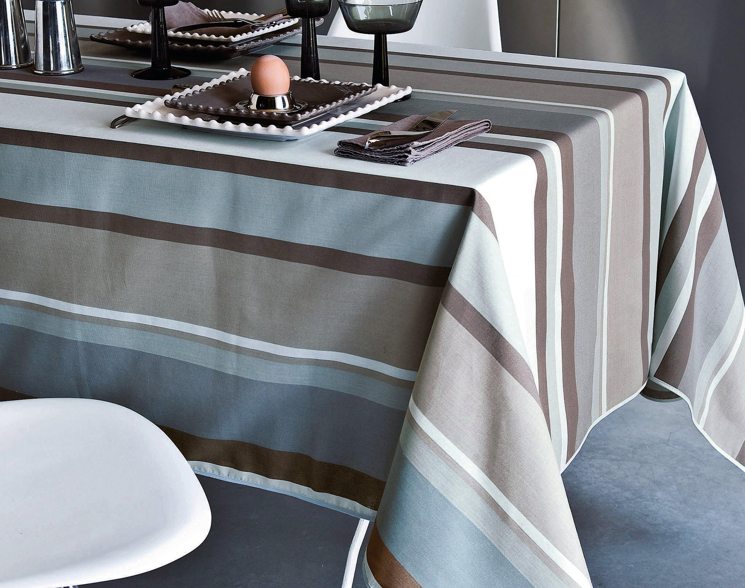 Nappe ronde bleu grisé en coton 150x150