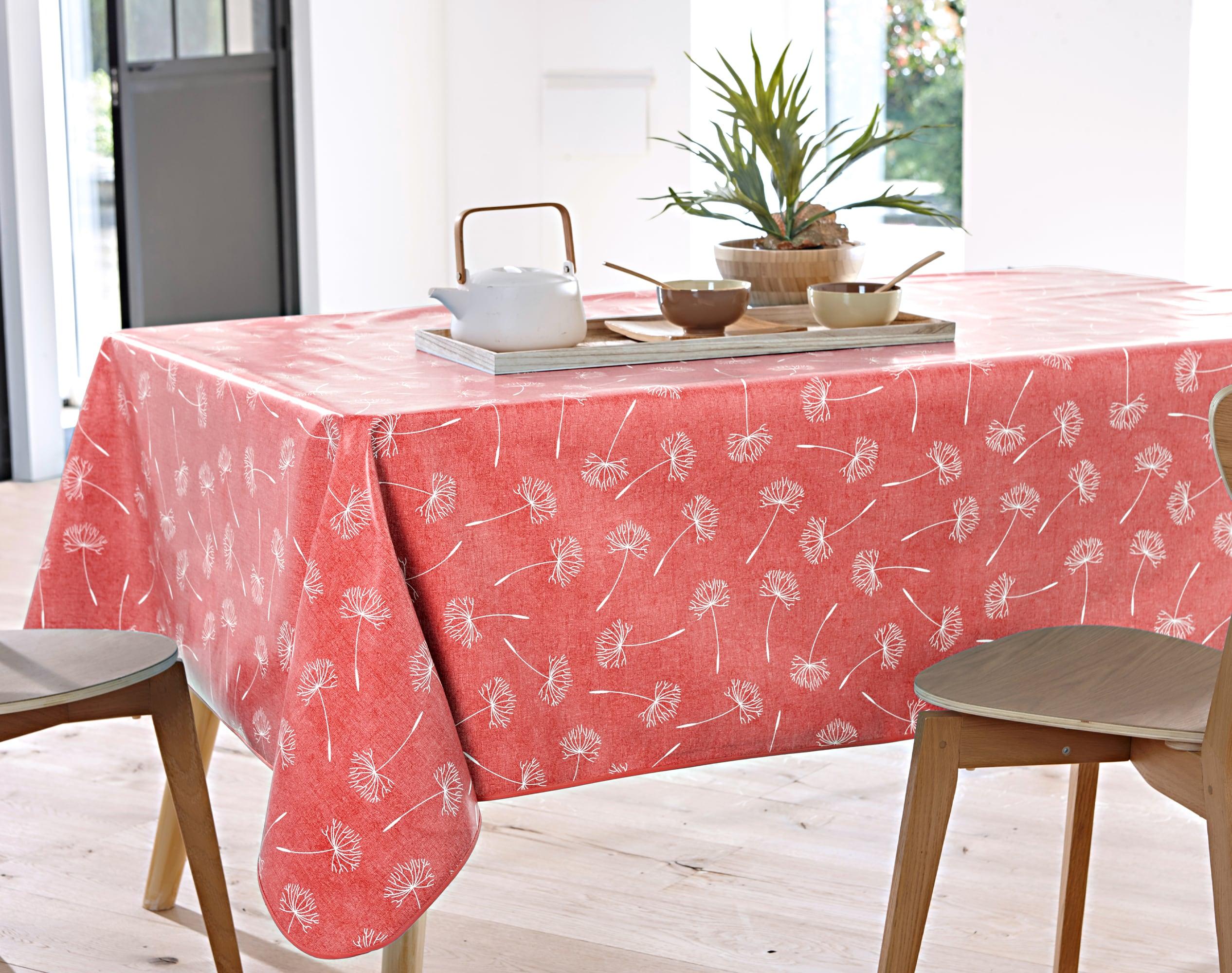 Nappe rectangulaire orange poterie en à motifs 138x160