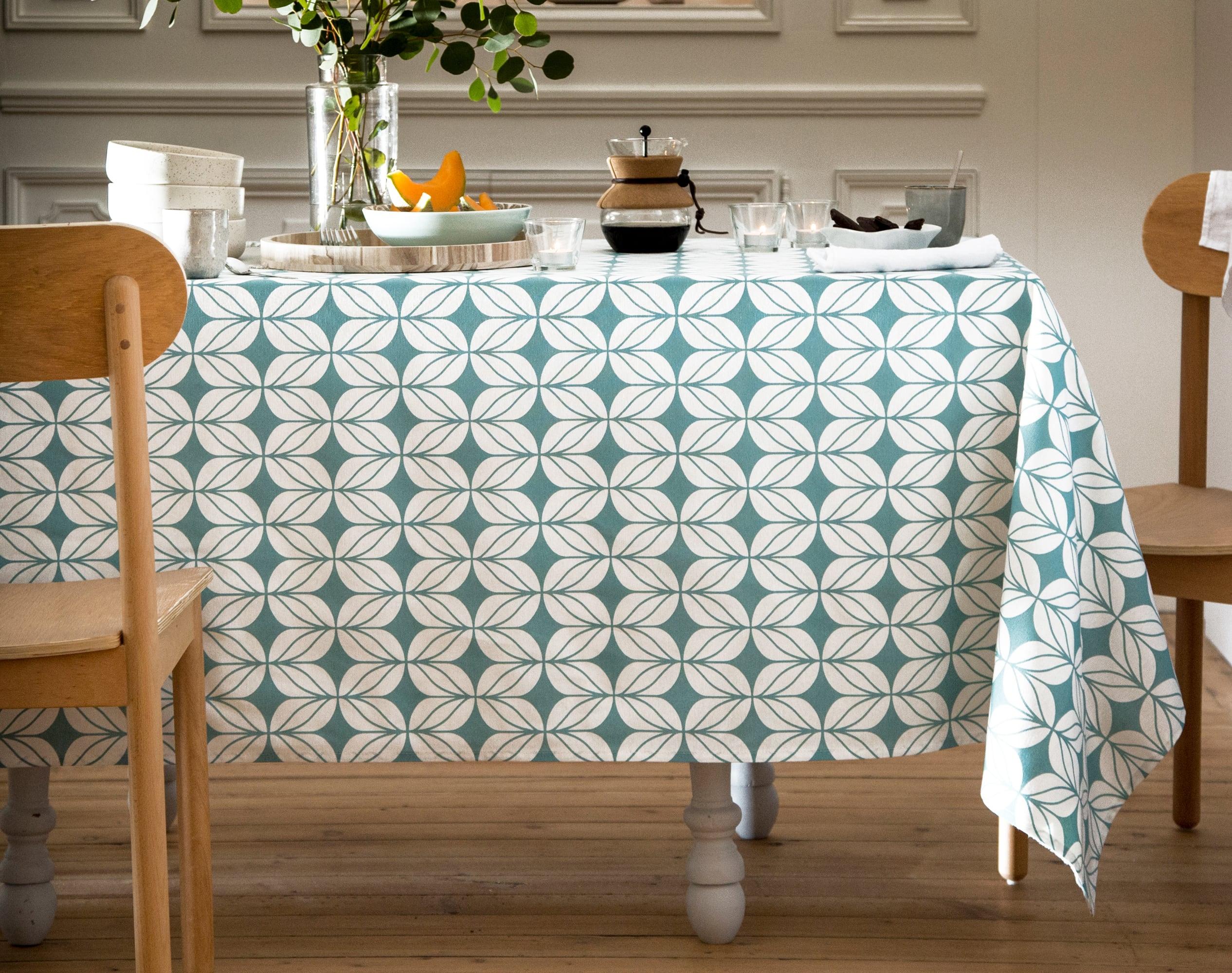 Nappe ronde bleu en coton 150x150