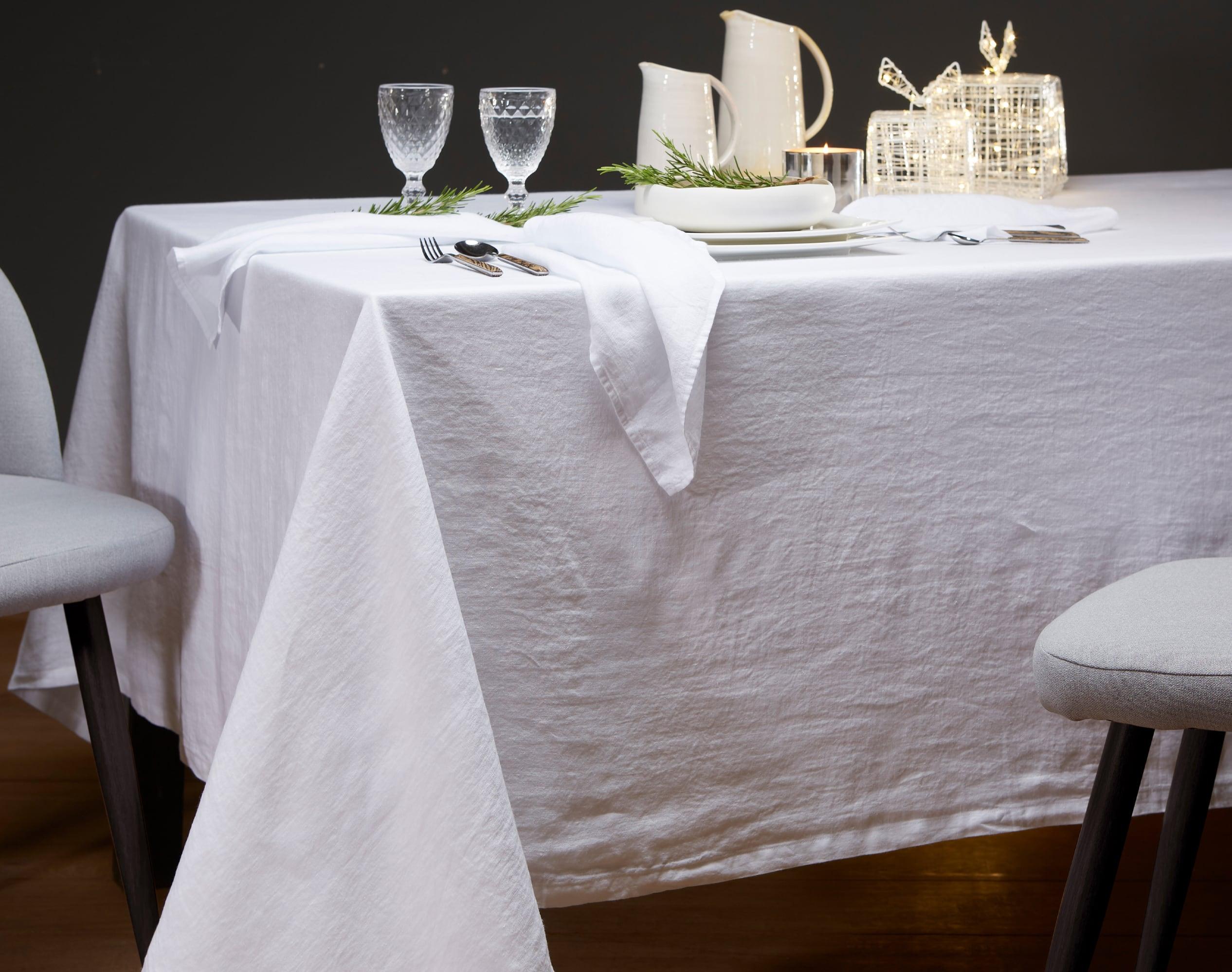 Nappe rectangulaire blanc en lin 170x300
