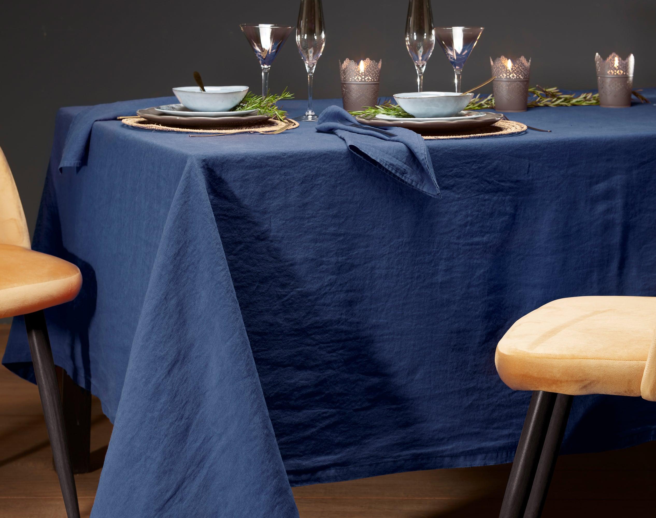 Nappe rectangulaire bleu indigo en lin 170x250