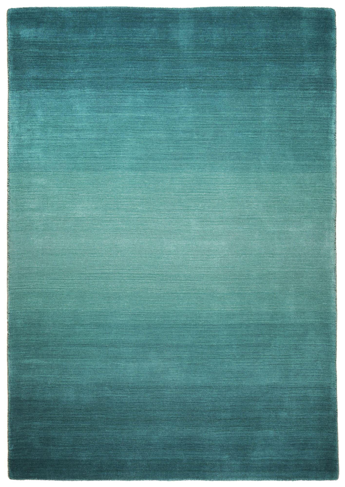 Tapis dégradé de couleur en laine Turquoise 70x140