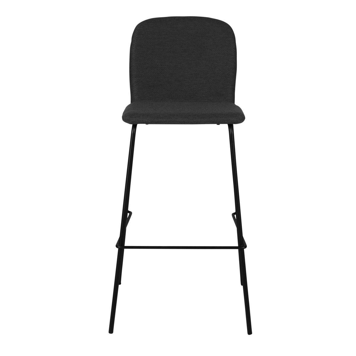Chaise de bar tissu gris foncé et piètement métal h75