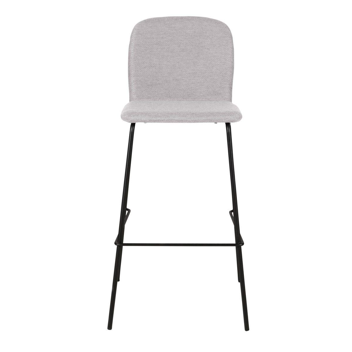 Chaise de bar tissu gris clair et piètement métal h75