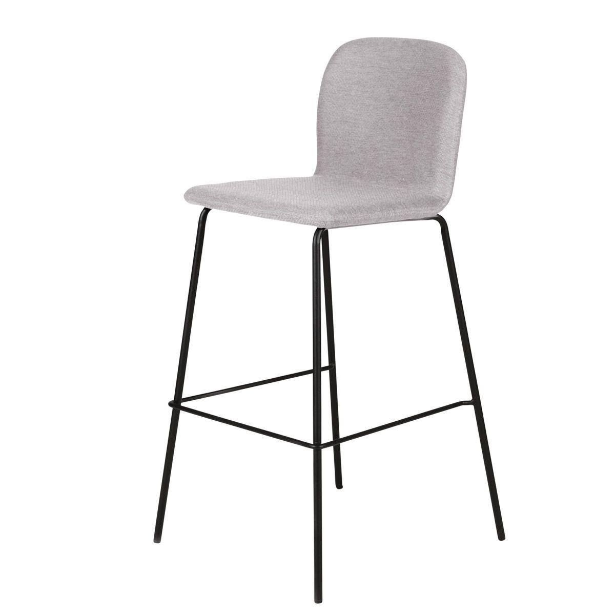 Chaise plan de travail tissu gris clair pieds métal h65