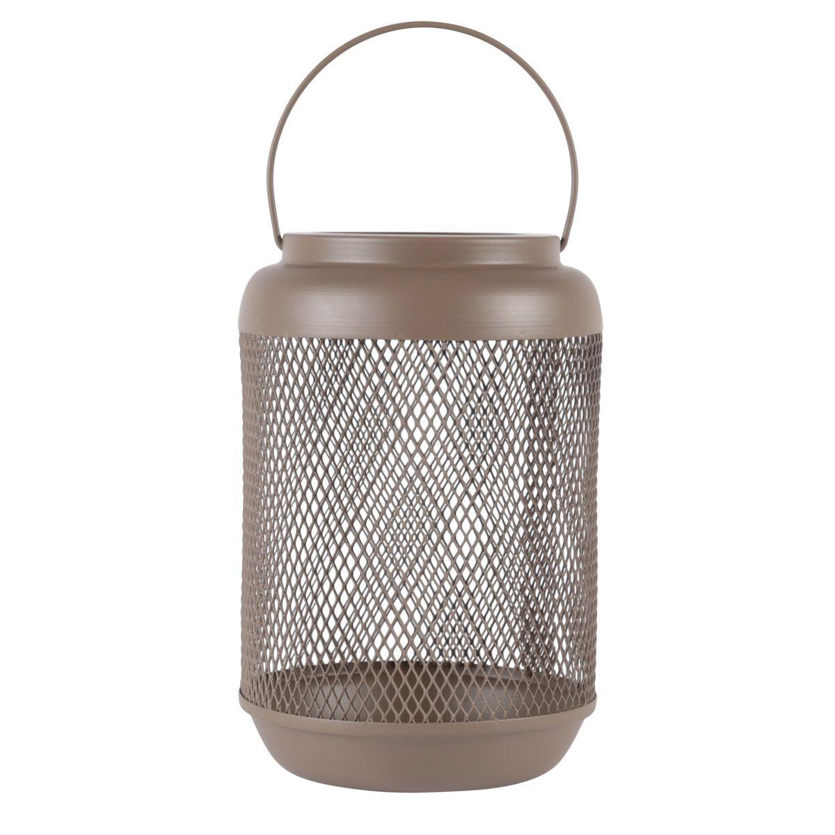 Lanterne métal vert argile h23,5 cm