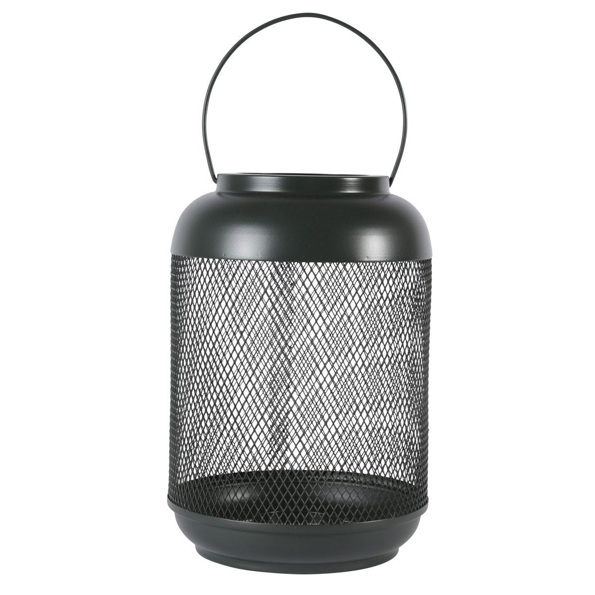 Lanterne métal vert bouteille h29 cm