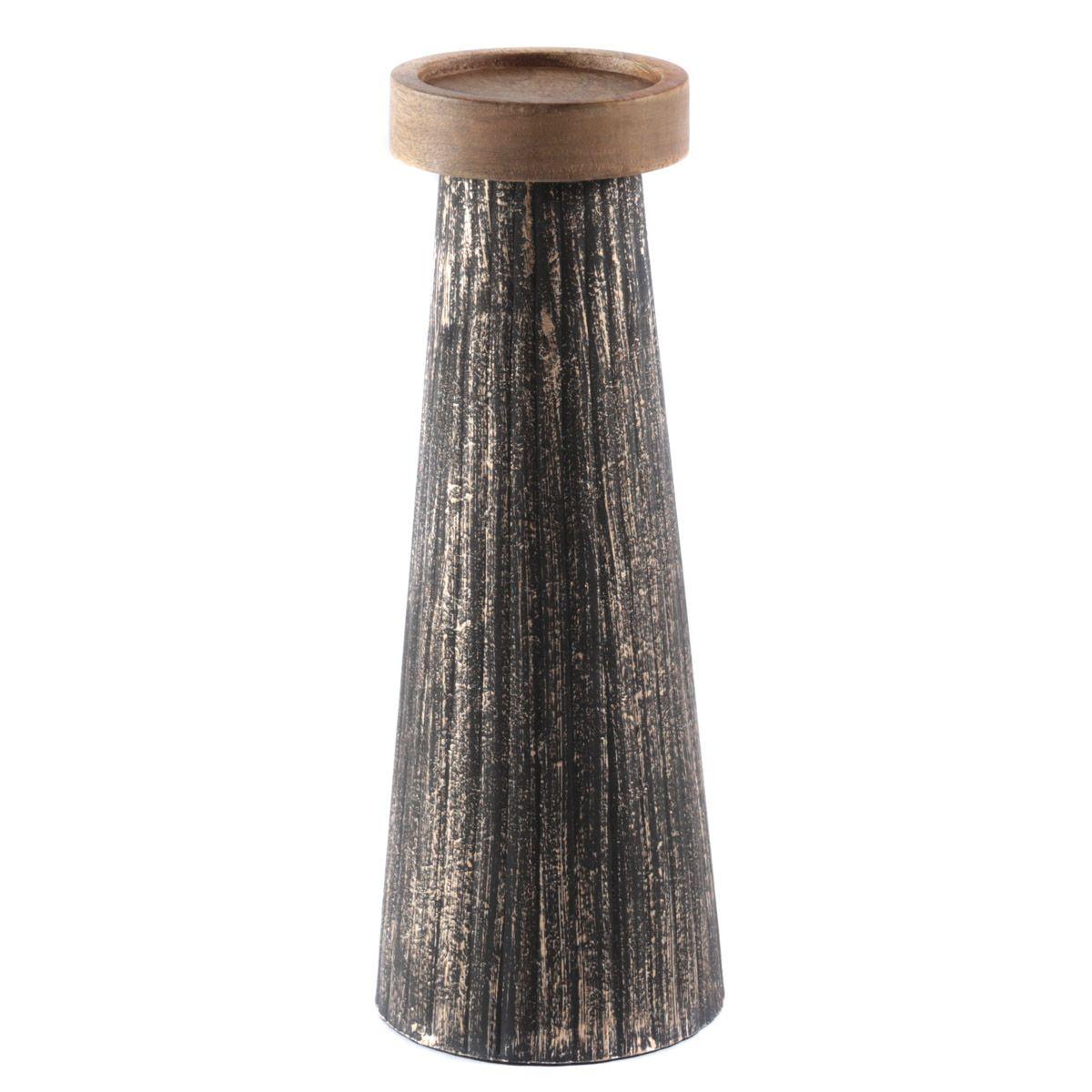 Bougeoir en bois de manguier et métal noir et or L