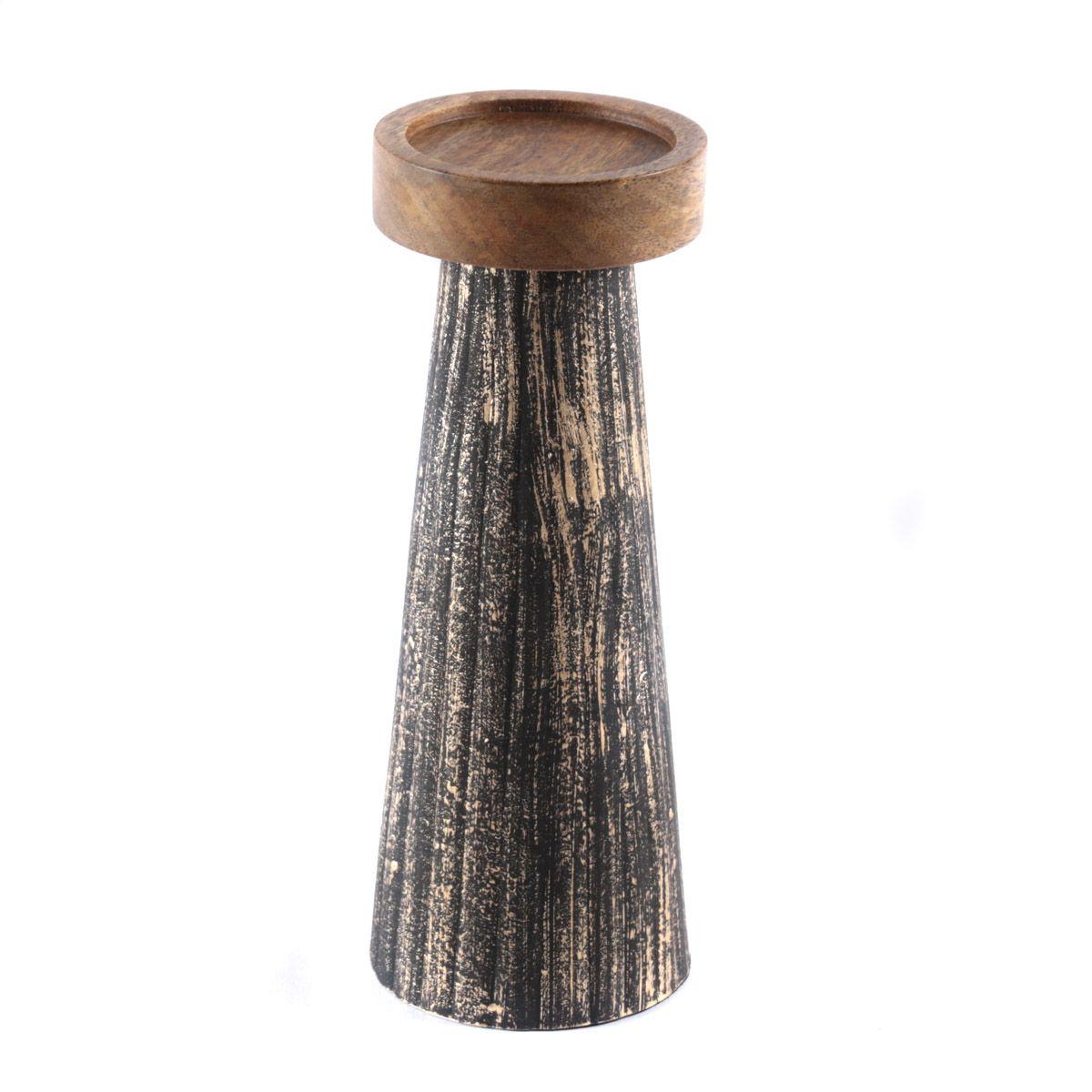 Bougeoir en bois de manguier et métal noir et or M