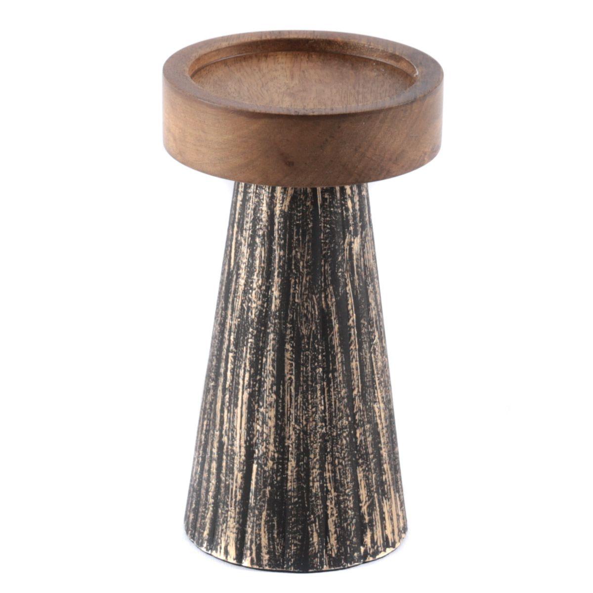 Bougeoir en bois de manguier et métal noir et or S