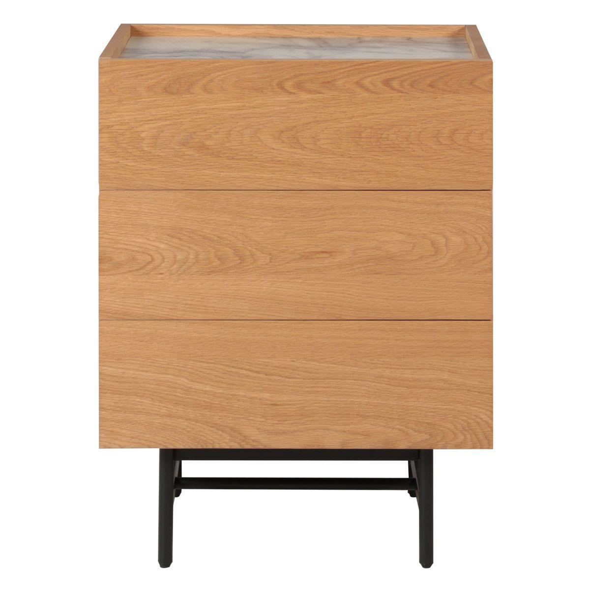 Commode en chêne plaqué et décor marbre avec 3 tiroirs