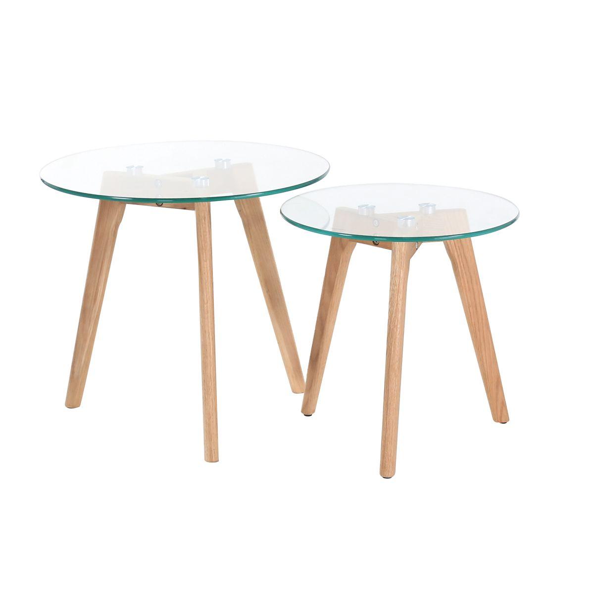 Tables basses gigognes chêne et verre