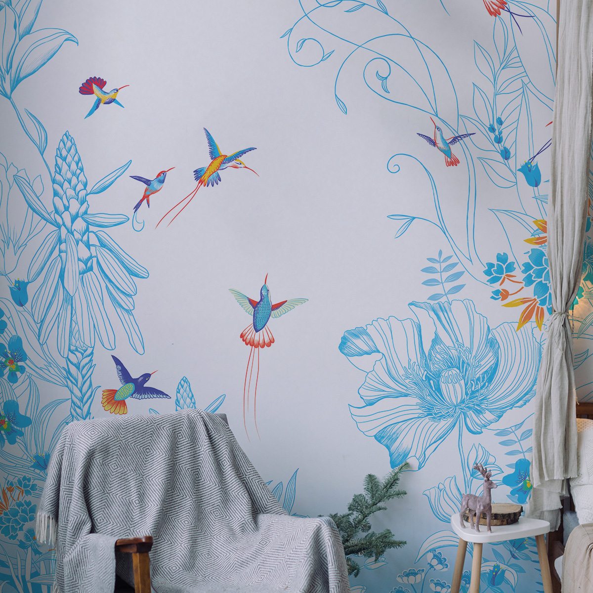 Papier peint colibris 270x250