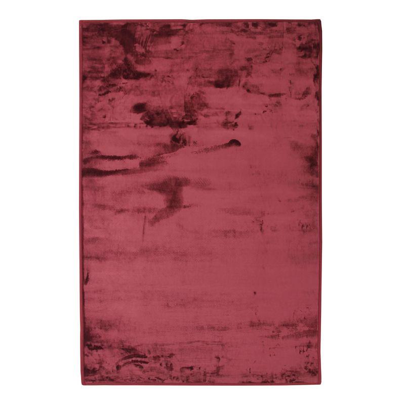 Tapis extra-doux effet velours rouge foncé 60x90