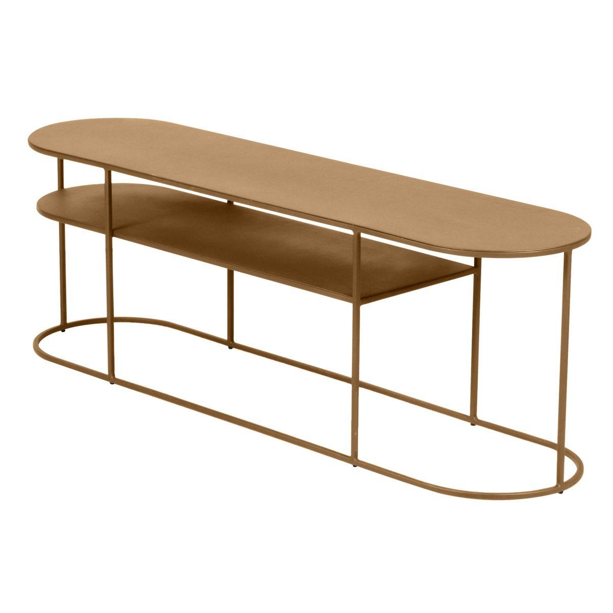 Table basse métal doré laiton antique ovale 120 cm