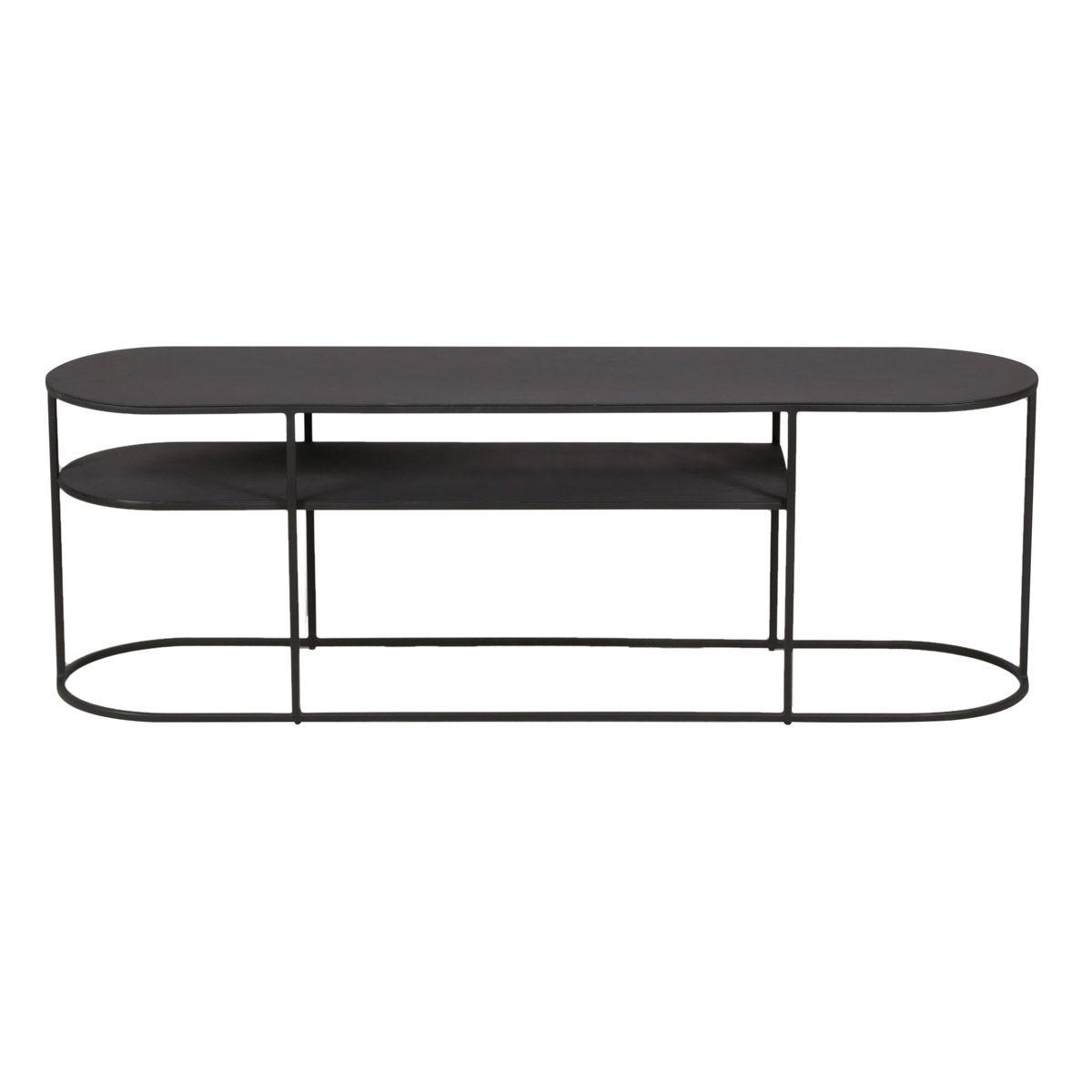 Table basse en métal noir ovale 120 cm