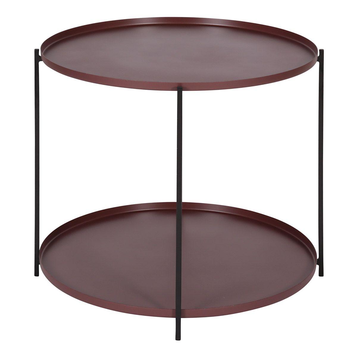 Table basse métal prune ronde D56,5 cm deux plateaux