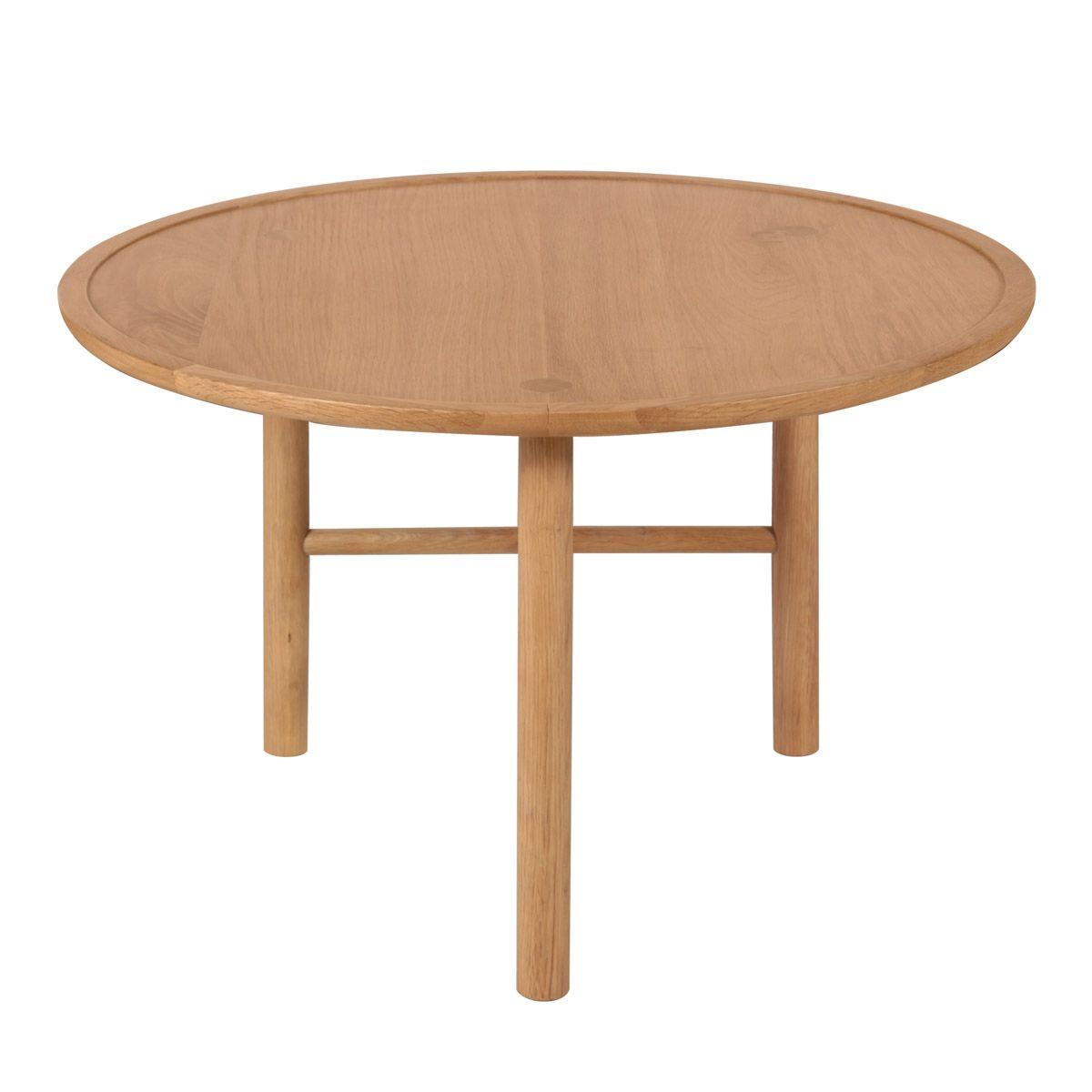 Table basse style naturel en chêne D 70 cm