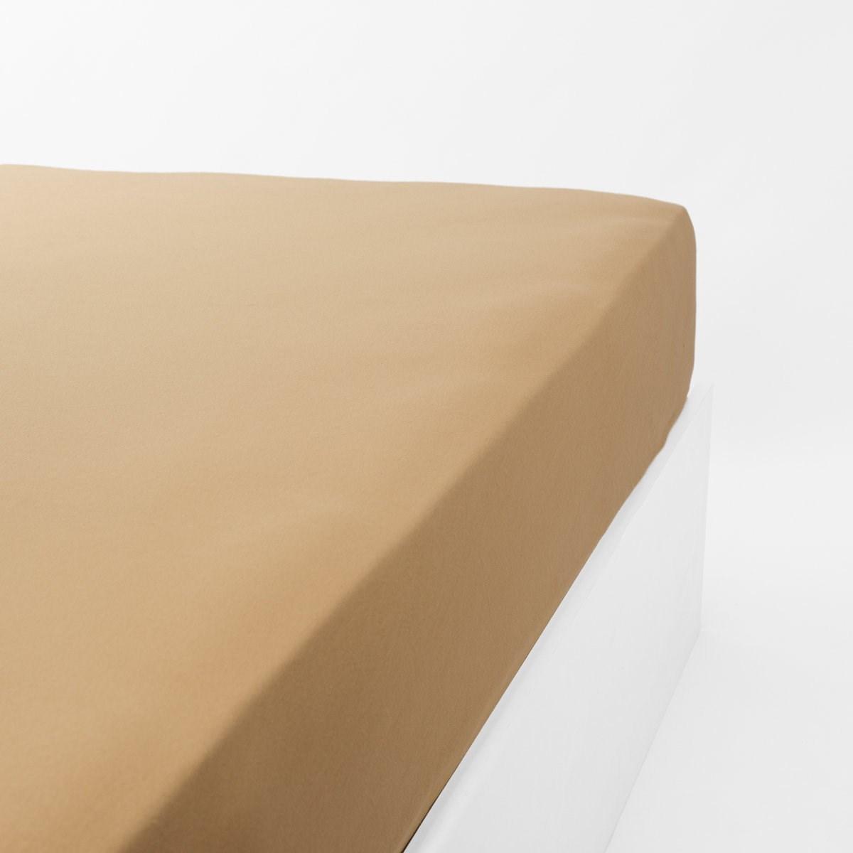 Drap housse jersey extensible en coton caramel 100x200 cm