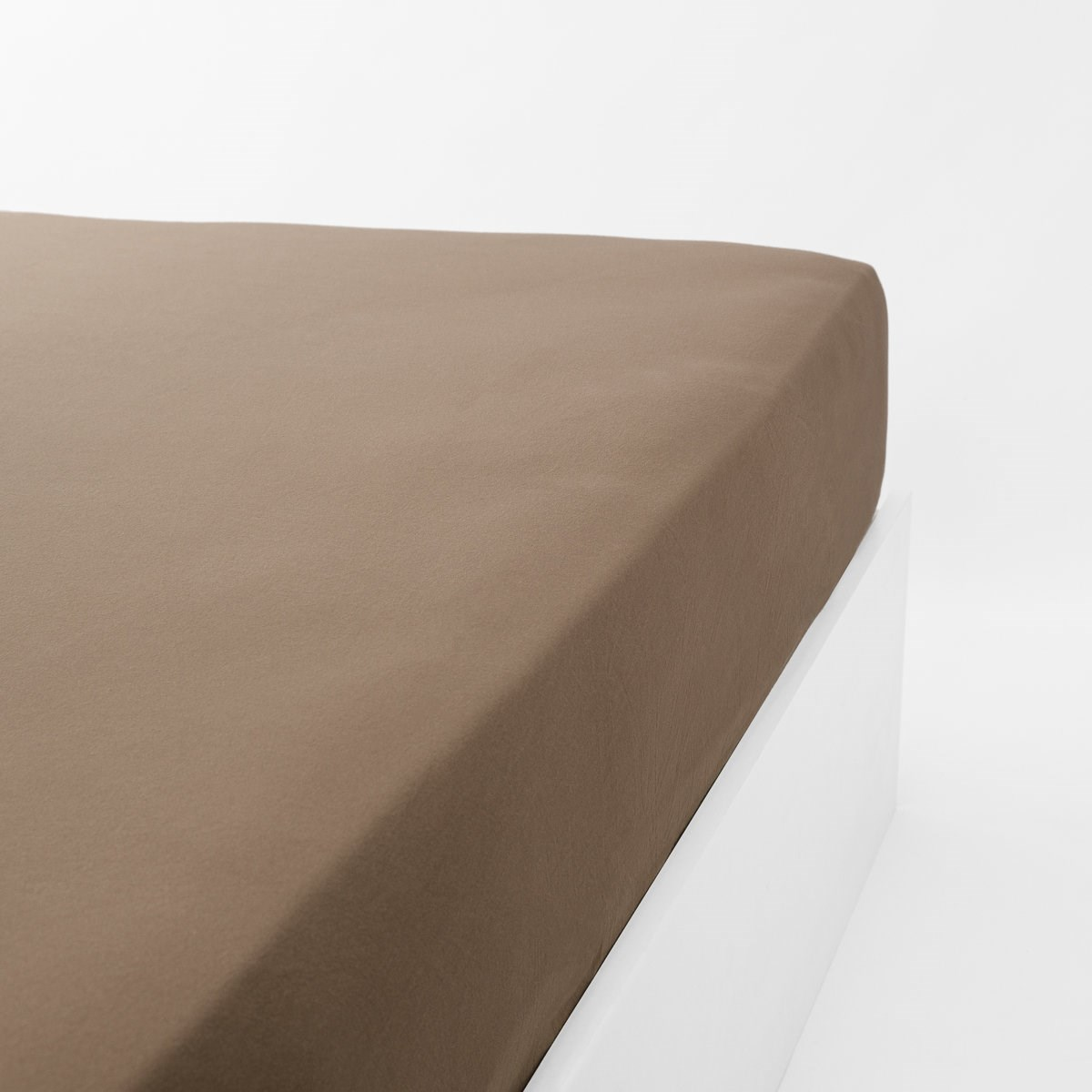 Drap housse jersey extensible en coton marron 120x200 cm