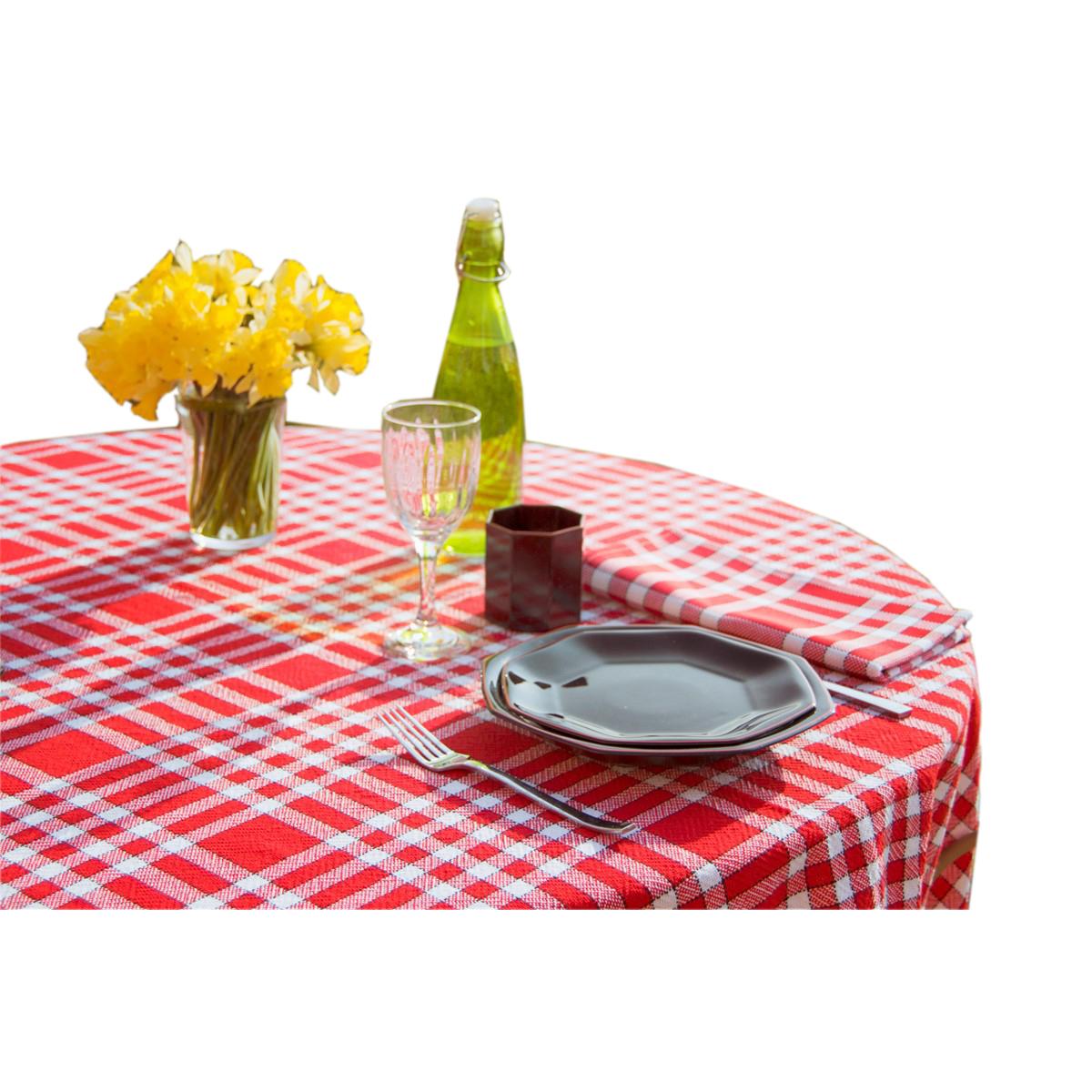 Nappe tissu carreaux vichy en coton rouge 150x400 cm