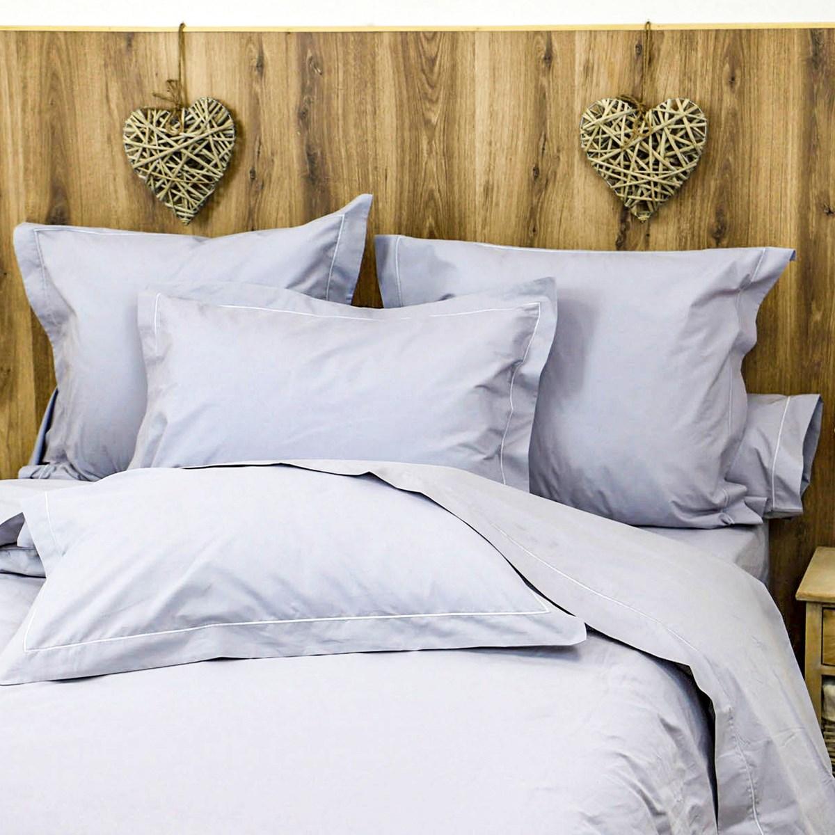 Parure drap plat et taies en percale de coton gris clair 240x290 cm