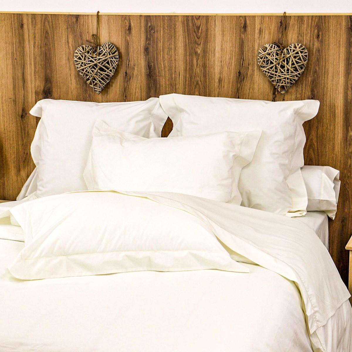 Parure drap plat et taies en percale de coton ivoire 280x290 cm