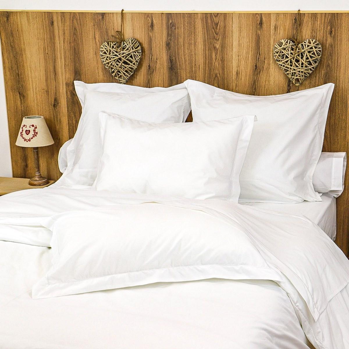 Parure drap plat et taies en percale de coton blanc 180x290 cm