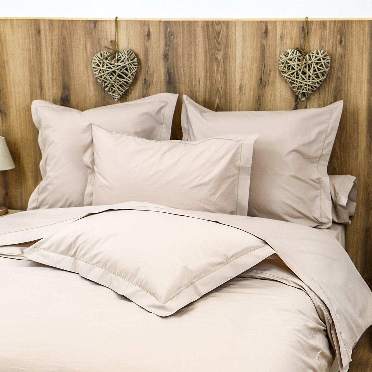 Parure drap plat et taies en percale de coton beige foncé 180x290 cm