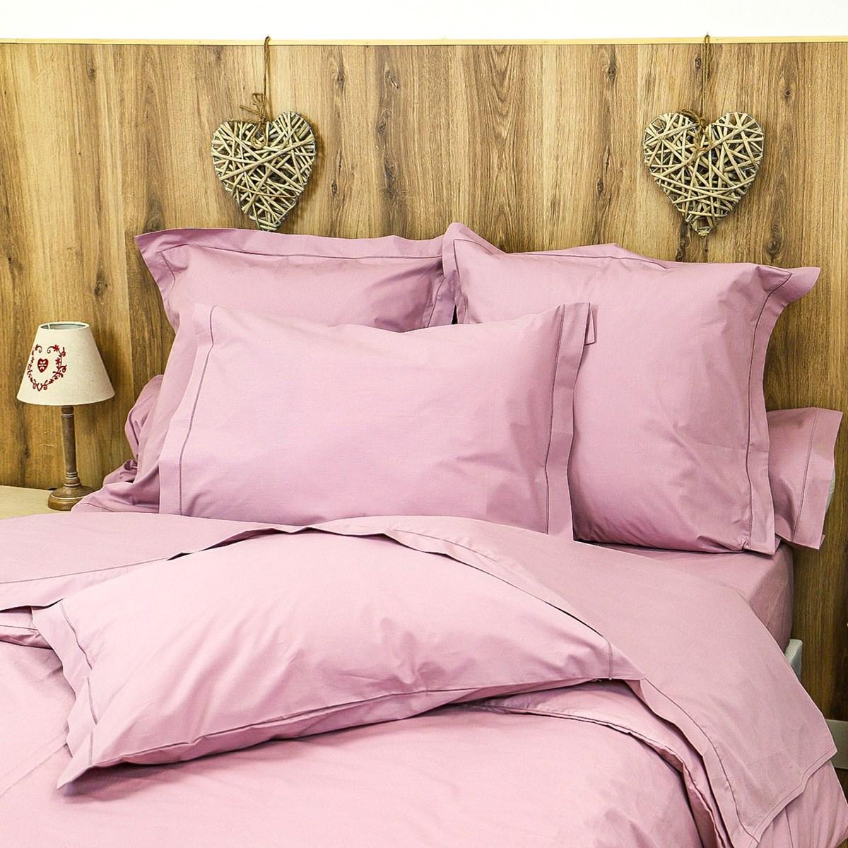 Parure drap plat et taies en percale de coton violet 270x290 cm