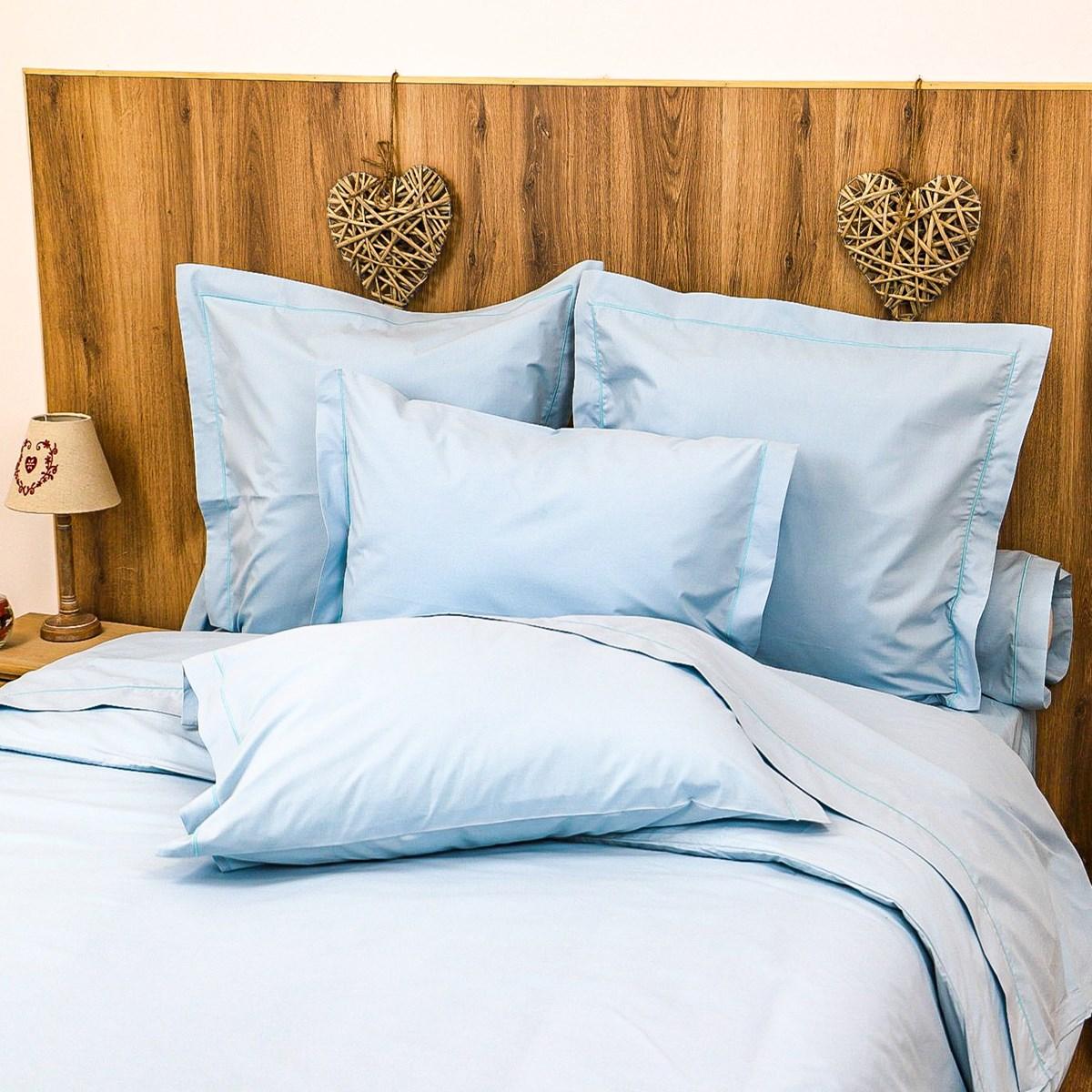 Parure drap plat et taies en percale de coton bleu 180x290 cm