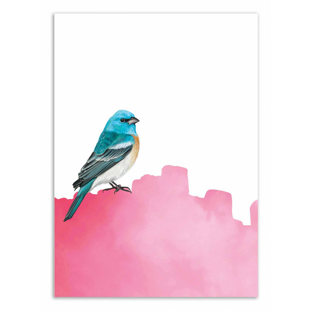 BIRD PINK - SEVEN TREES -  Affiche d'art 50 x 70 cm