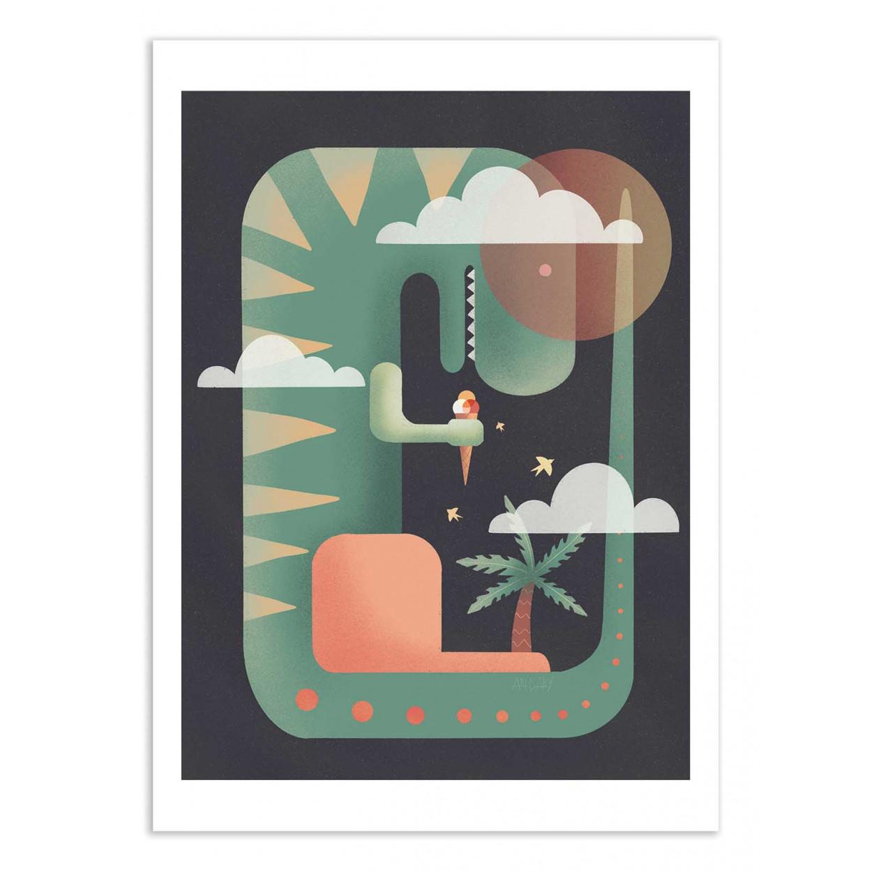 T-REXY - DARY MALTSEVA -  Affiche d'art 50 x 70 cm