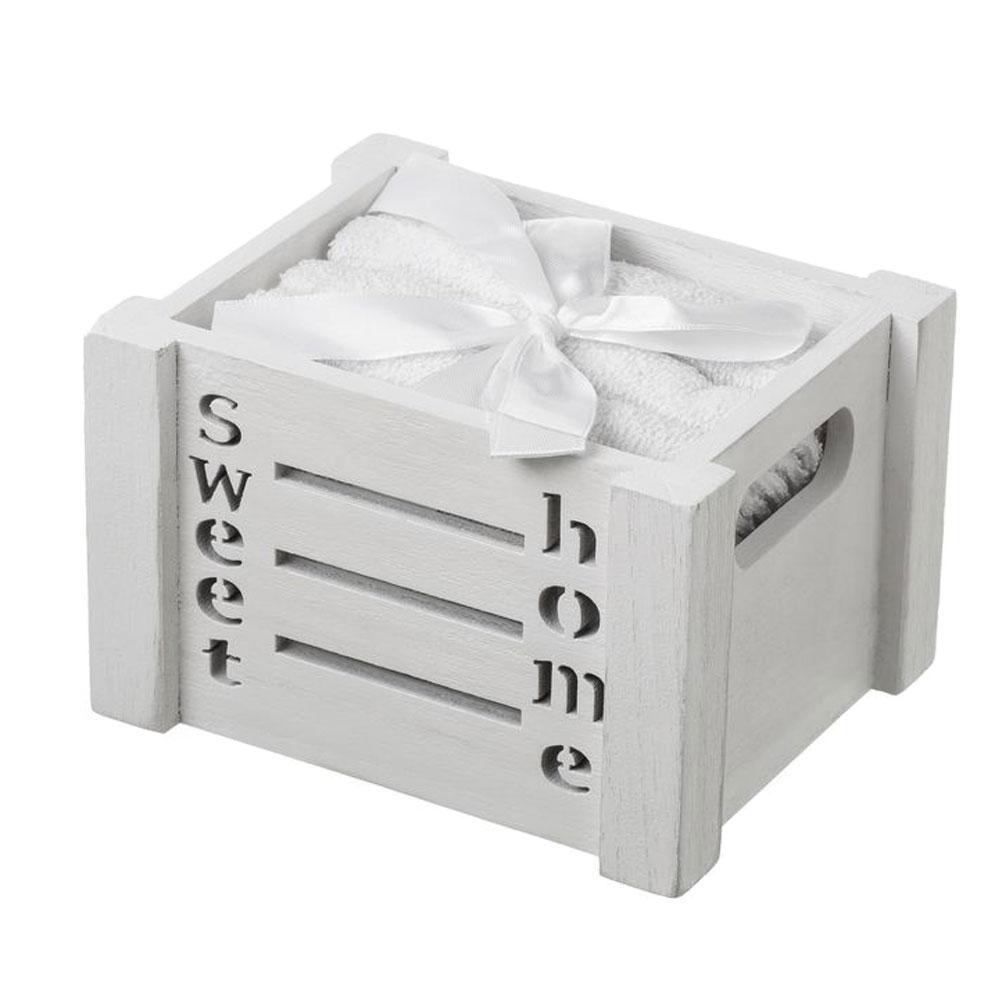 4 serviettes d'invité Sweet Home en coffret cadeau