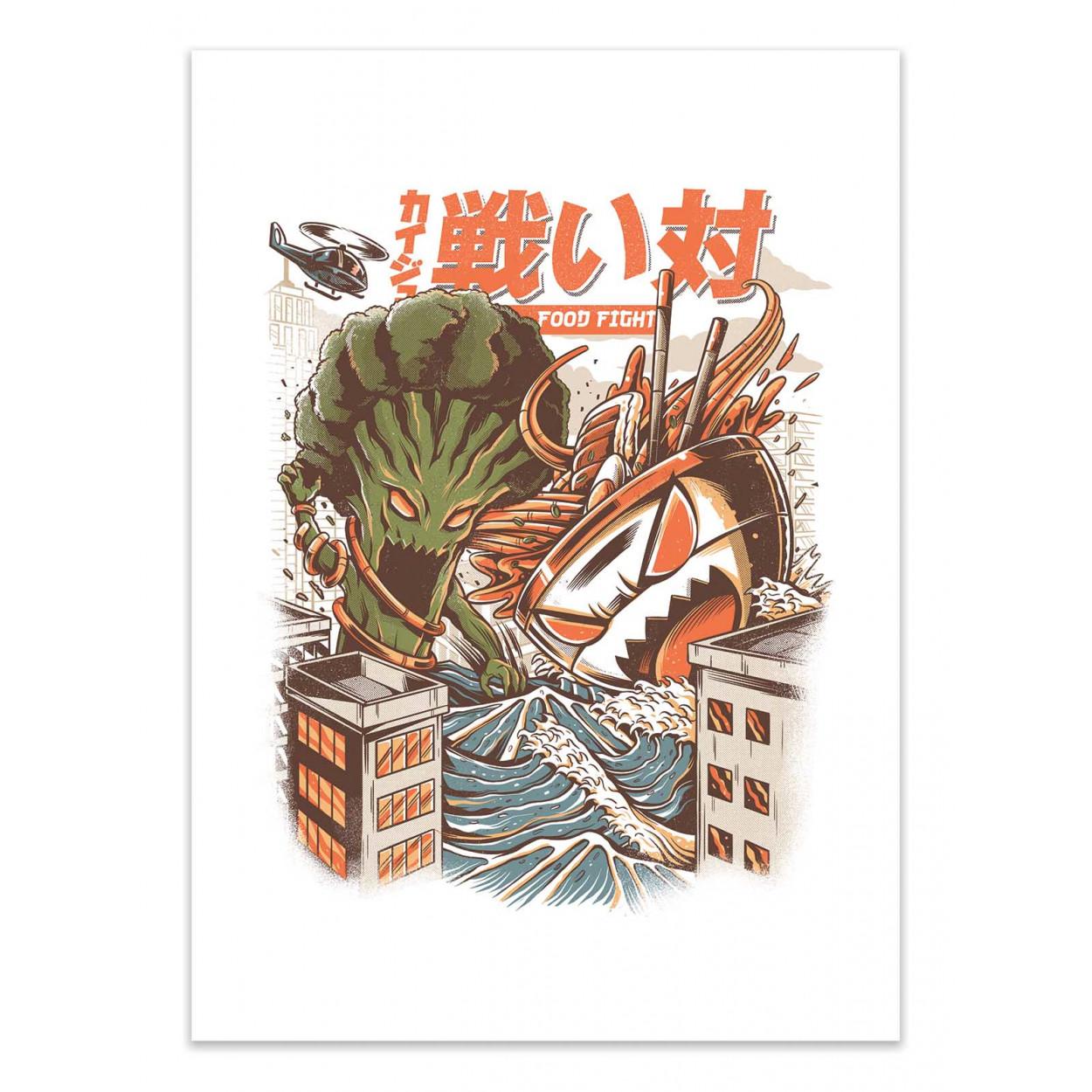 BROCCO VS RAMEN KAIJUS -  Affiche d'art 50 x 70 cm
