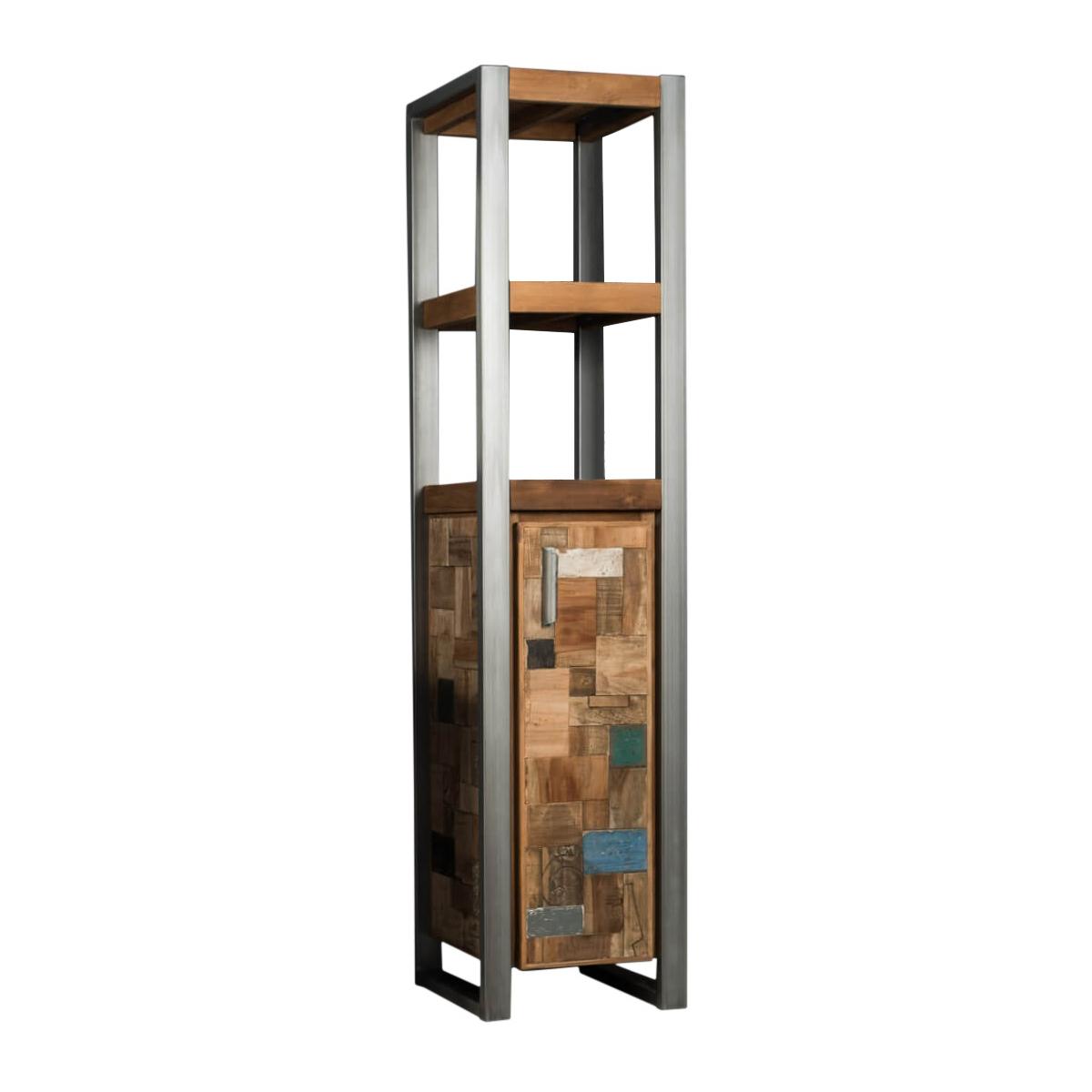 Colonne de salle de bain en teck recyclé et métal H190cm