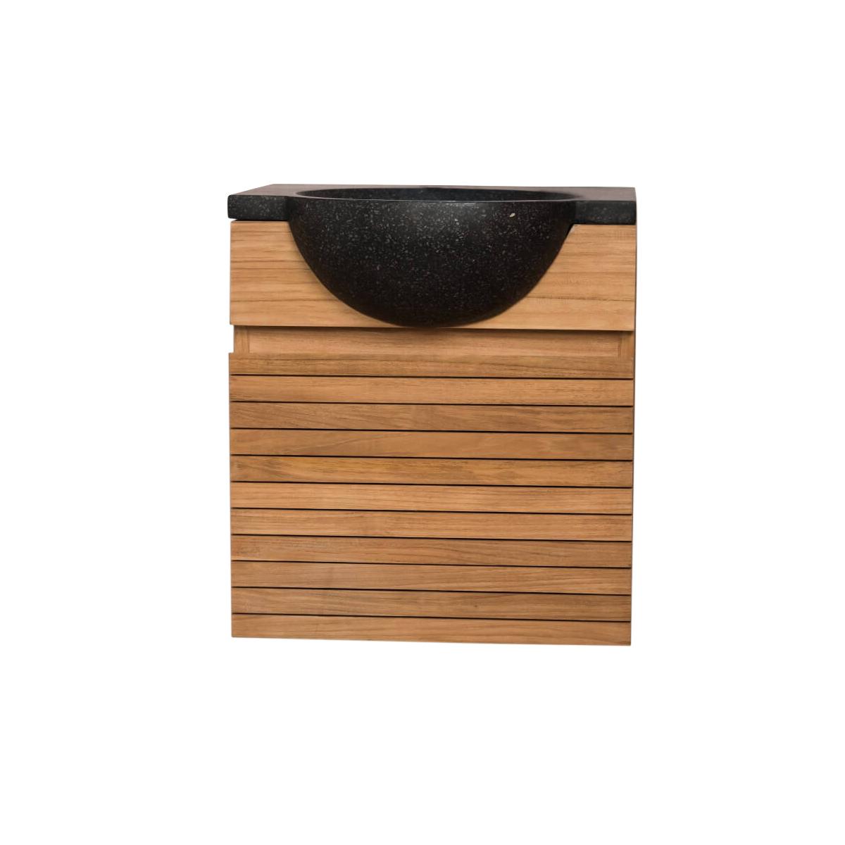 Meuble de salle de bain en teck et vasque noir L50cm